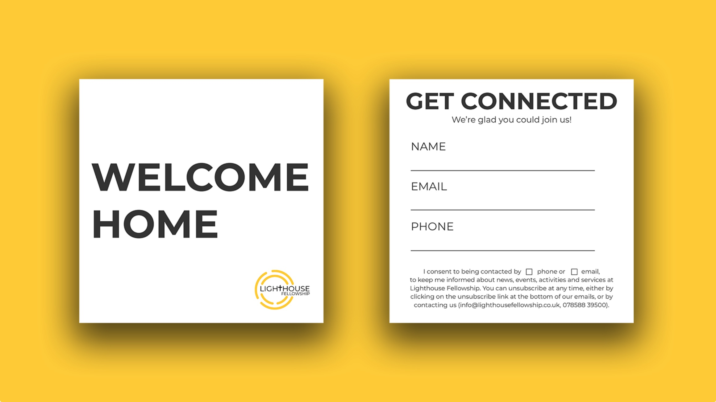 Design of connection cards for Lighthouse Fellowship