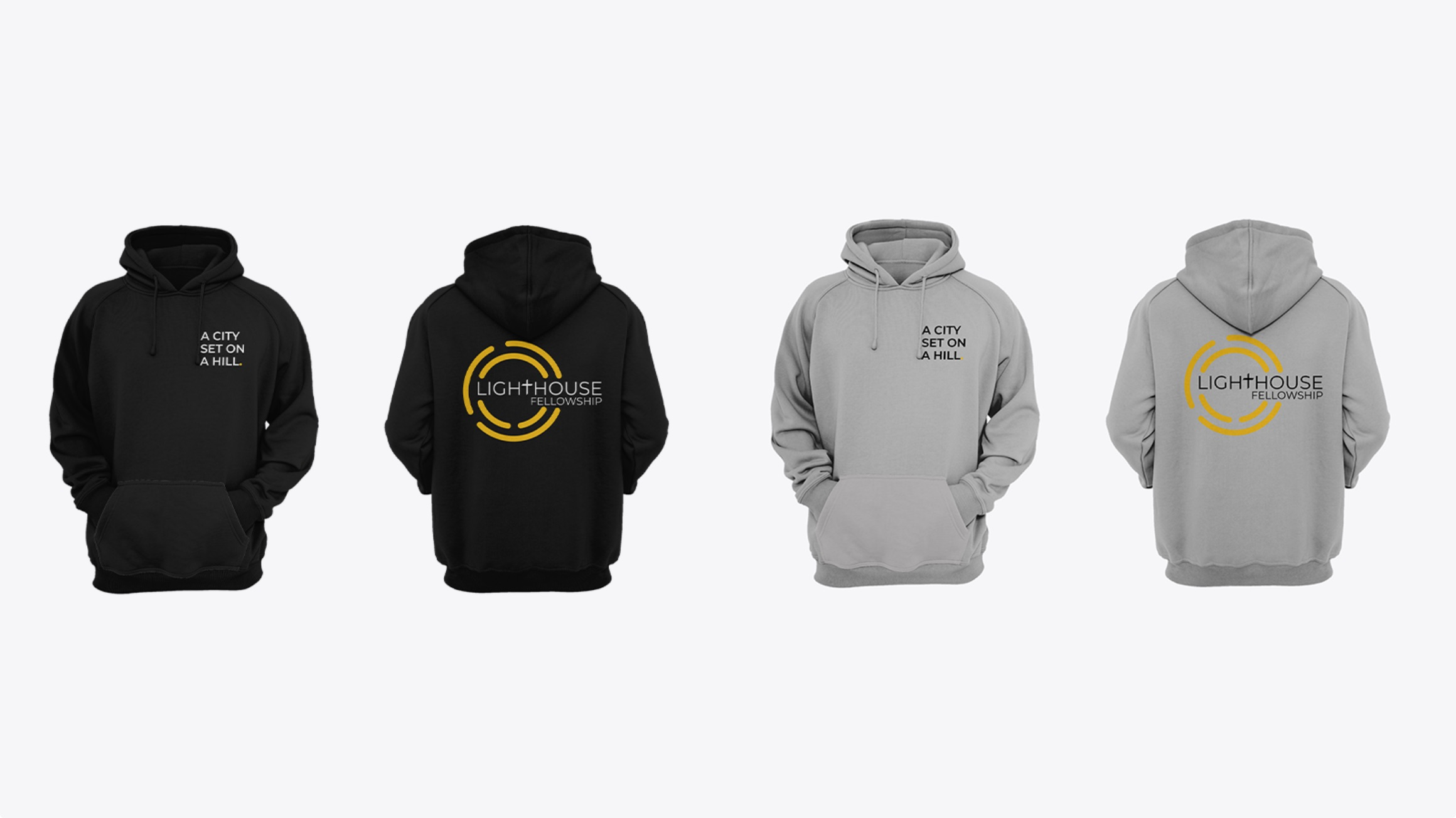 Design of Lighthouse Fellowship's black and grey hoodies